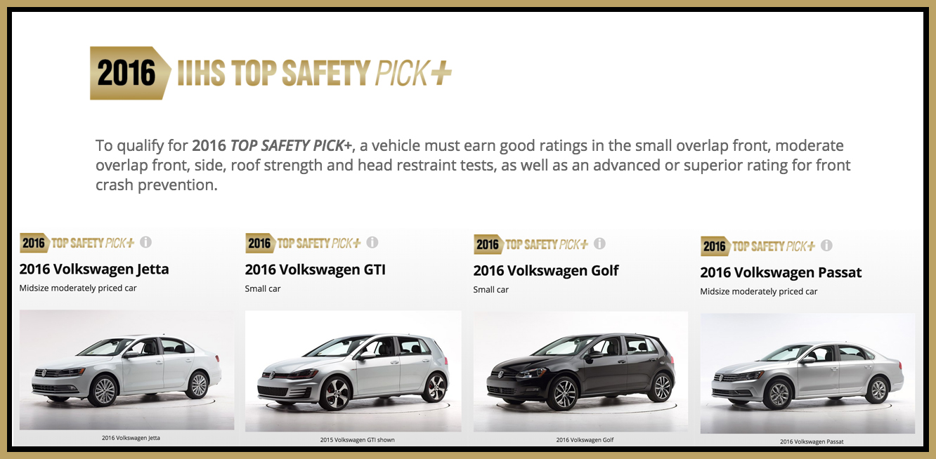 Volkswagen takes 4 IIHS top safety plus picks 2016