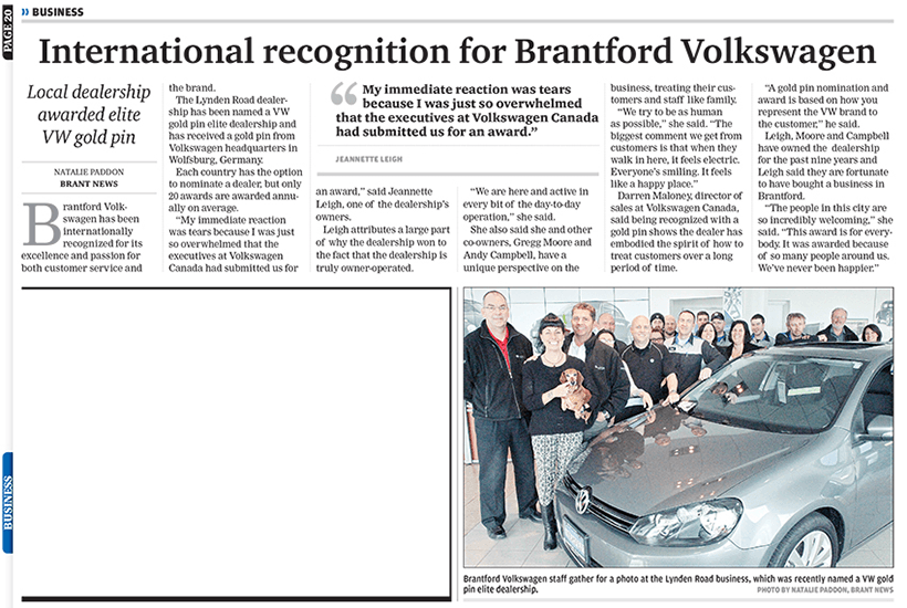 gold pin award brantford volkswagen brant news 2013
