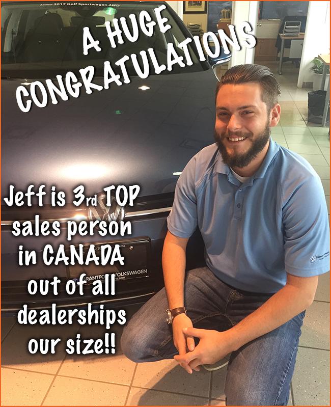 Jeff Bucci VW Canada Sales Award