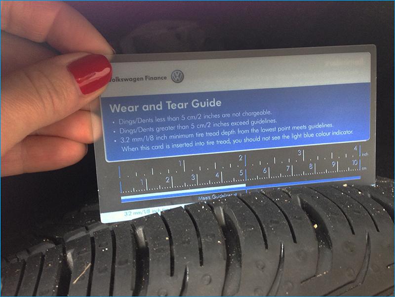 VW Credit Canada wear guideline card