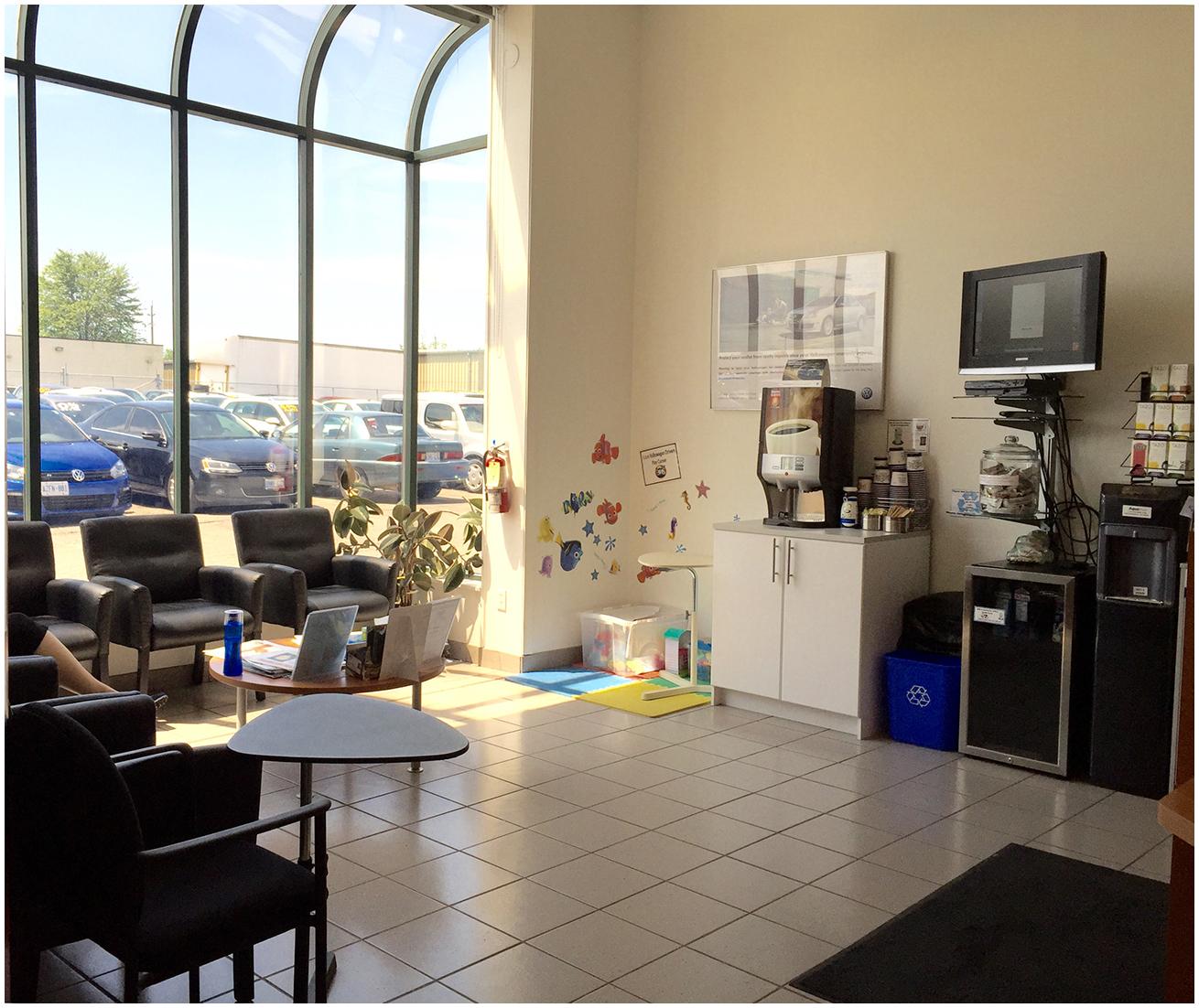 Brantford Volkswagen service waiting area