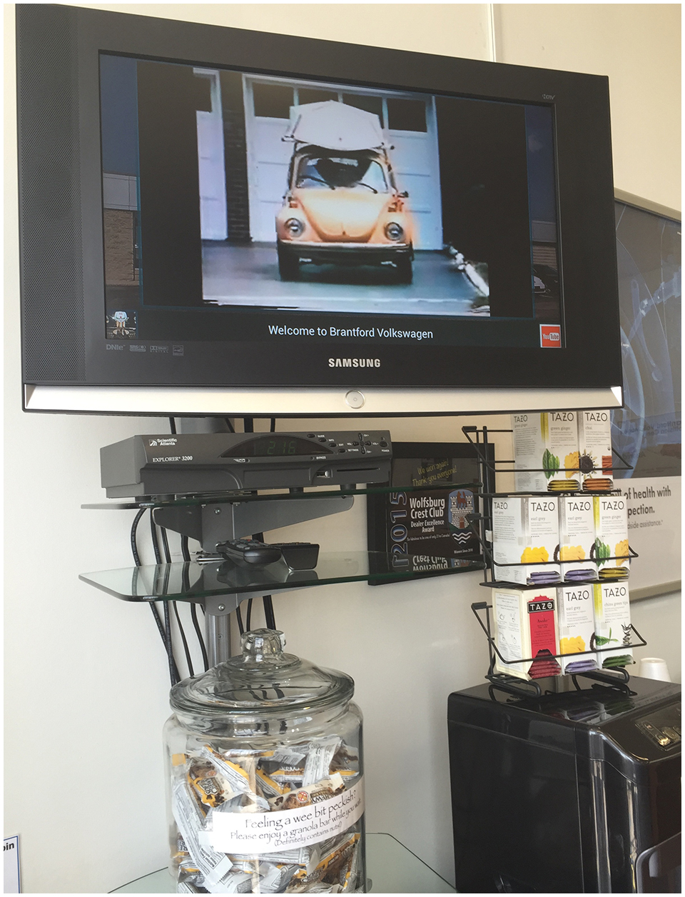 Brantford Volkswagen plays classic VW ads while you wait