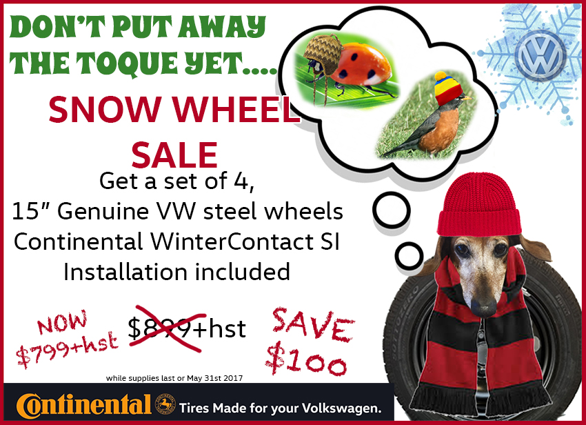Volkswagen snow wheel special save $100