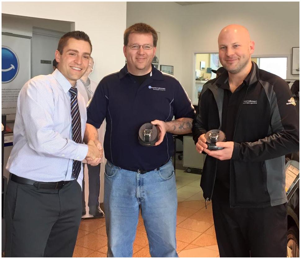 Terry Carmichael Dan Muller Volkswagen Canada Service Guild award winners