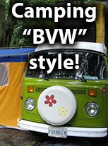 "camping in our 1978 westy and our 1970 beetle is how we enjoy our summer ""Brantford VW"" style"