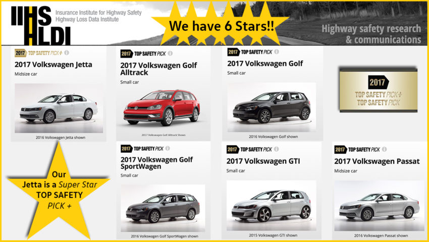 Volkswagen 6 IIHS top safety picks 2017