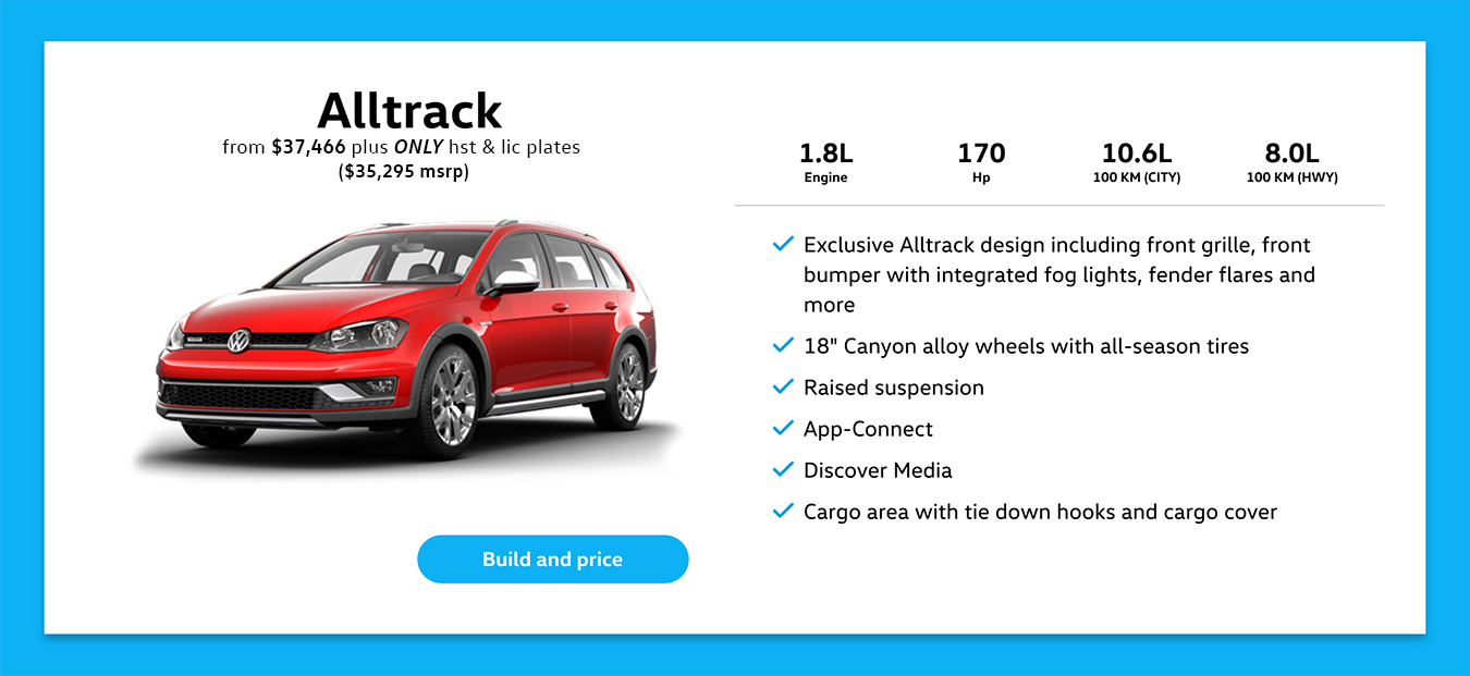 2017 Golf AllTrack Pricing