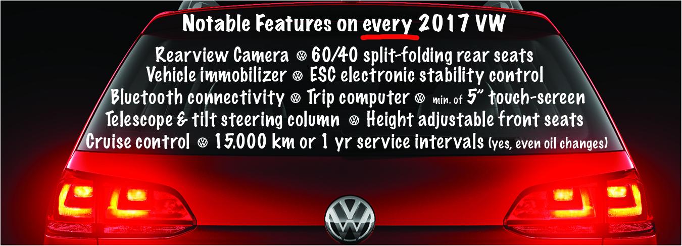 2017 Volkswagen standard features