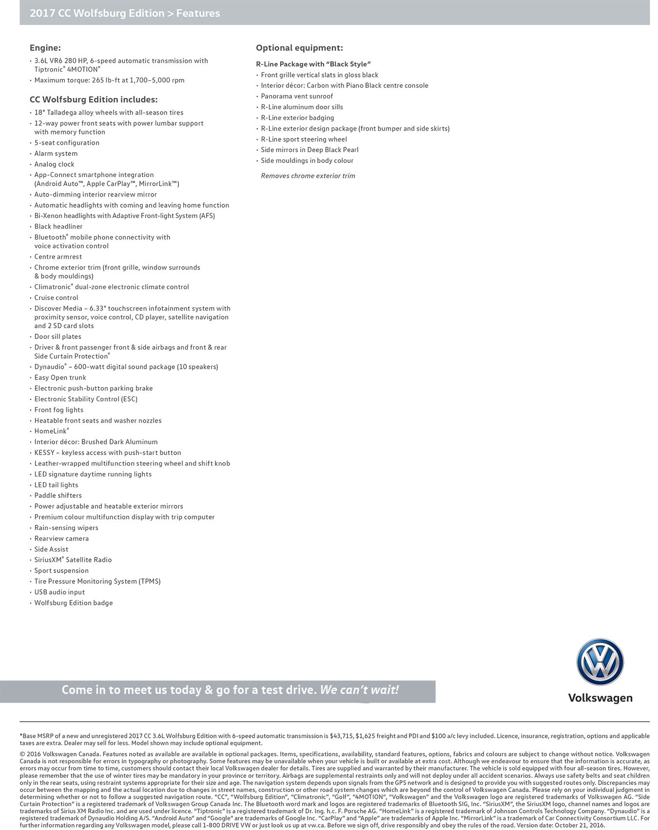 2017  CC Wolfsburg Edition features specifications