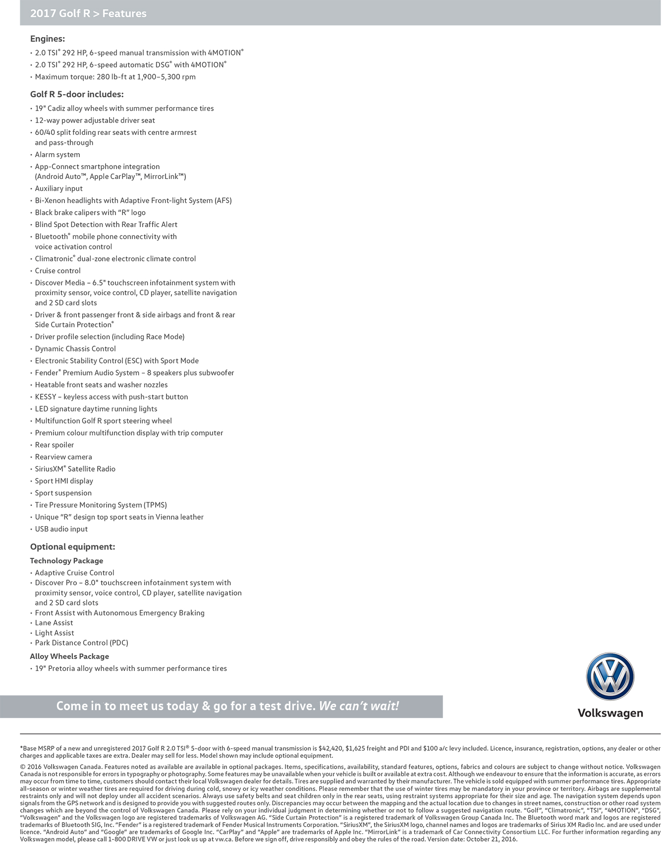 2017 Golf R features and specifications
