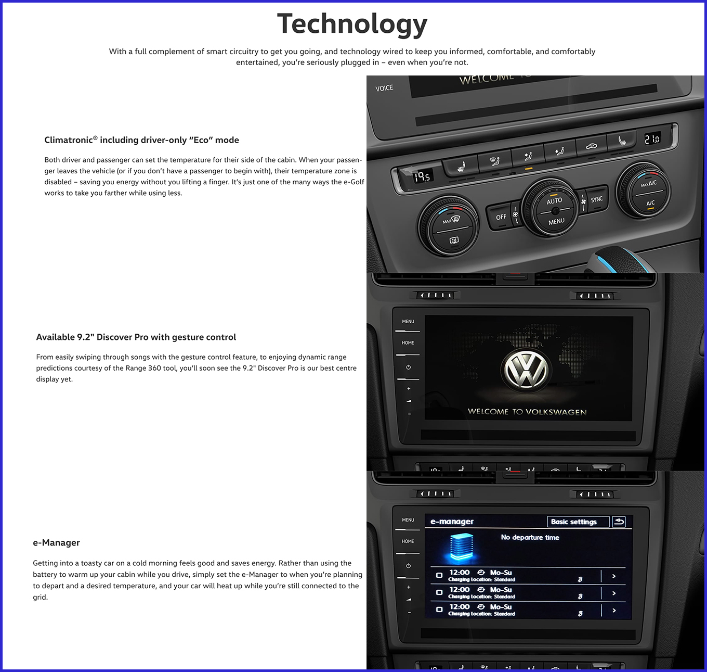 2018 eGolf electric car technology
